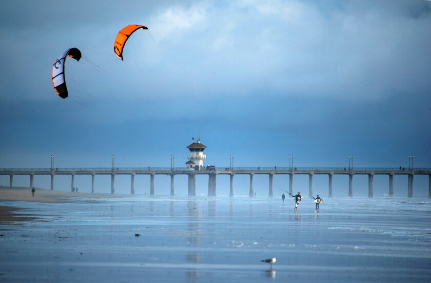 Kite surfers in Huntington Beach