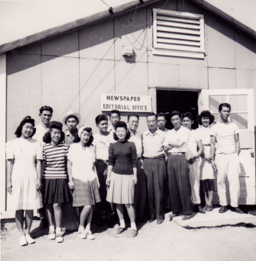 Esther Takei, front and center, at the Granada War Relocation Camp newspaper