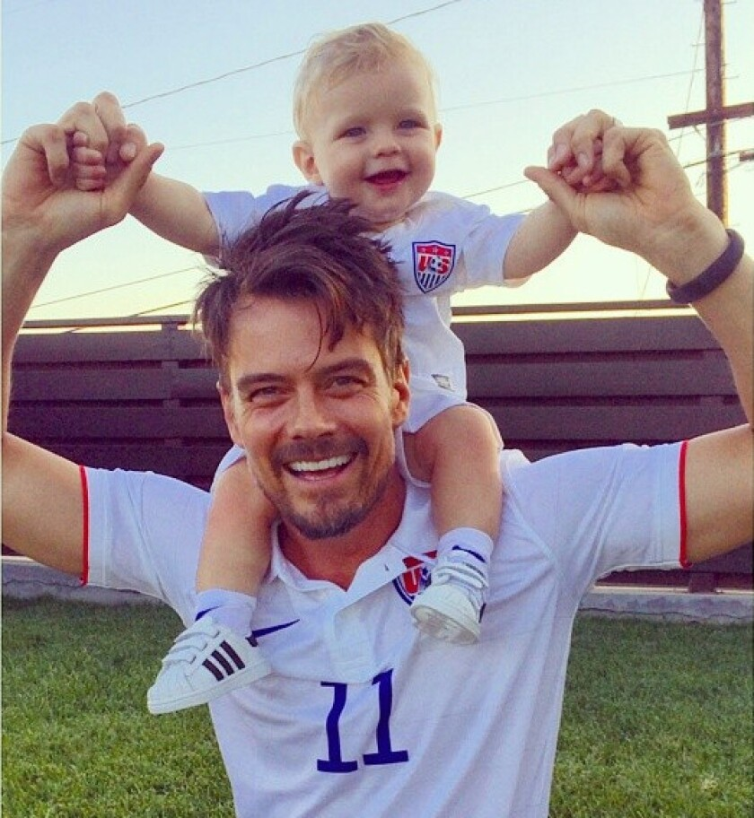 Josh Duhamel posts cute pic with son Axl in matching soccer