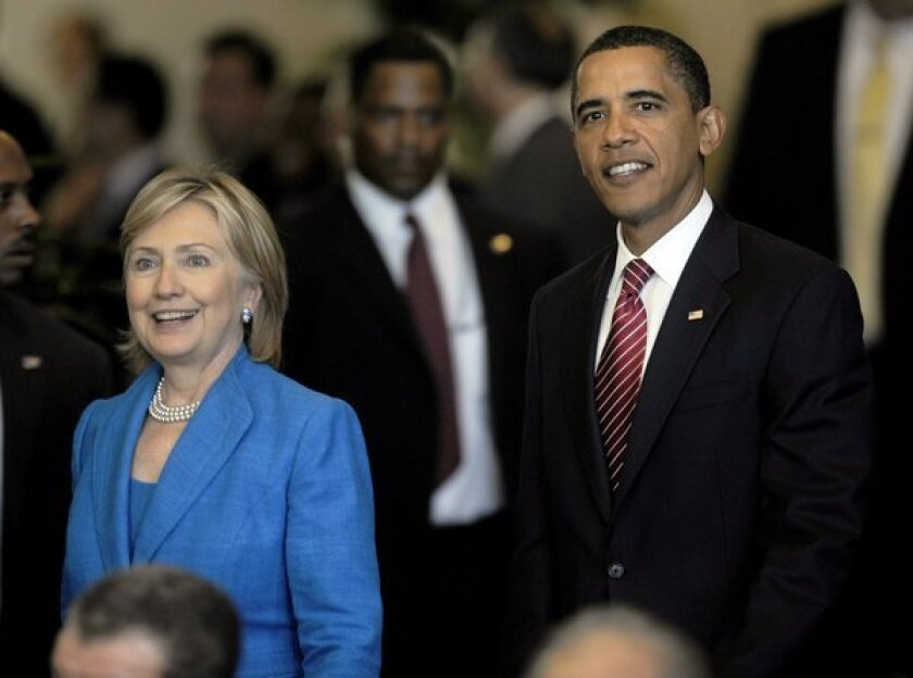 """President Obama and then-Secretary of State Hillary Rodham Clinton in 2009. Two Obama campaign veterans have signed on to help a """"super PAC"""" devoted to laying the groundwork for a Clinton presidential run in 2016."""