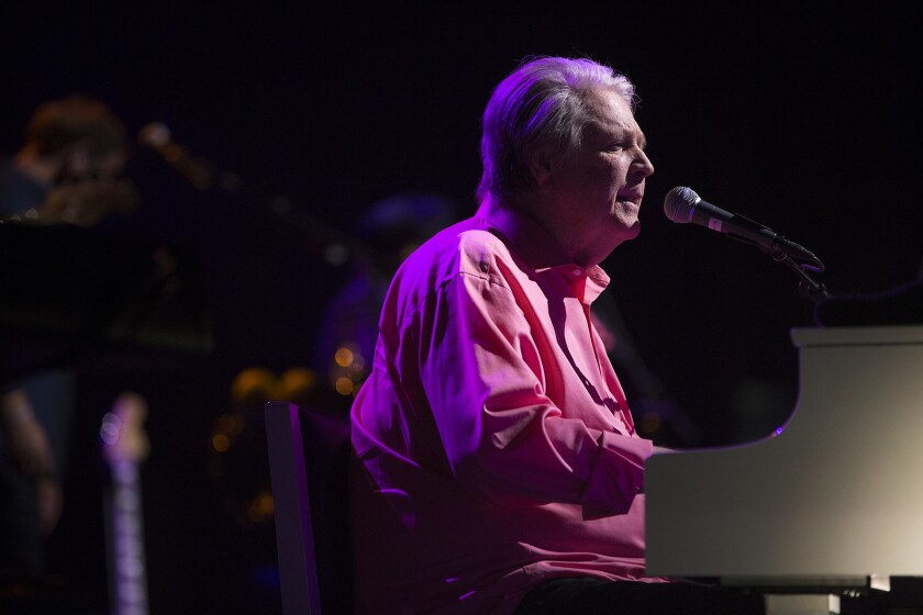 LOS ANGELES, CA - MAY 26, 2017: Brian Wilson, Beach Boys creative leader, performs the group's 1966