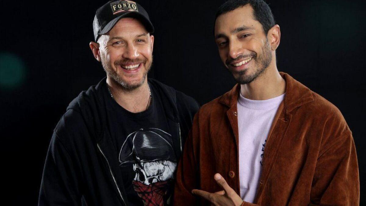 Venom Stars Tom Hardy And Riz Ahmed Inhabit A Superhero Saga For Our Dark Times Los Angeles Times