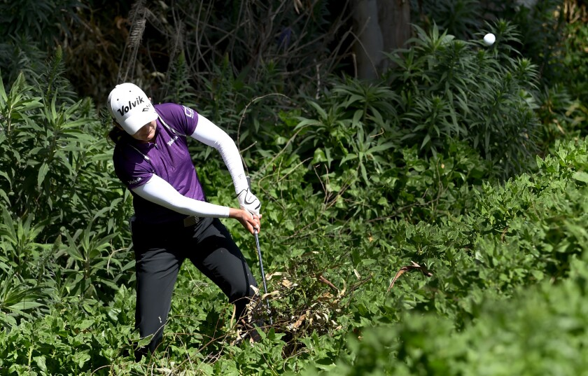 Lindy Duncan hits out of the rough on the 17th hole during the second round of the Kia Classic at the Aviara Golf Club on March 29, 2019 in Carlsbad, California.