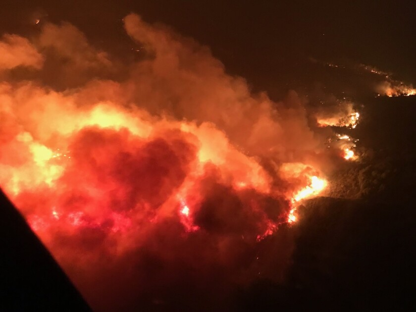 This is the view a California Highway Patrol helicopter pilot saw while trying to reach people trapped by fire the night of Oct. 8.