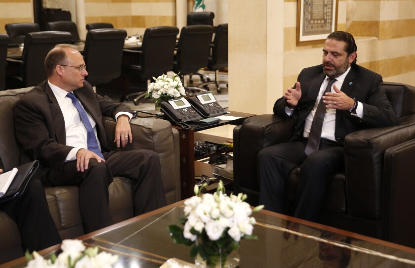 Treasury Assistant Secretary for Terrorist Financing, Marshall Billingslea, left, meets with Lebanese Prime Minister Saad Hariri, in Beirut, Lebanon, Monday, Sept. 23, 2019. Billingslea met Monday with the prime minister, parliament speaker and the central bank governor. The central bank governor said Billingslea is here to explain the motives behind recent U.S. sanctions targeting Lebanon's Iranian-backed Hezbollah group. (AP Photo/Hussein Malla)