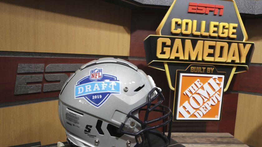 The logo for the ESPN College Gameday set is seen at the 2019 NFL Draft in Nashville on Tuesday, Apr