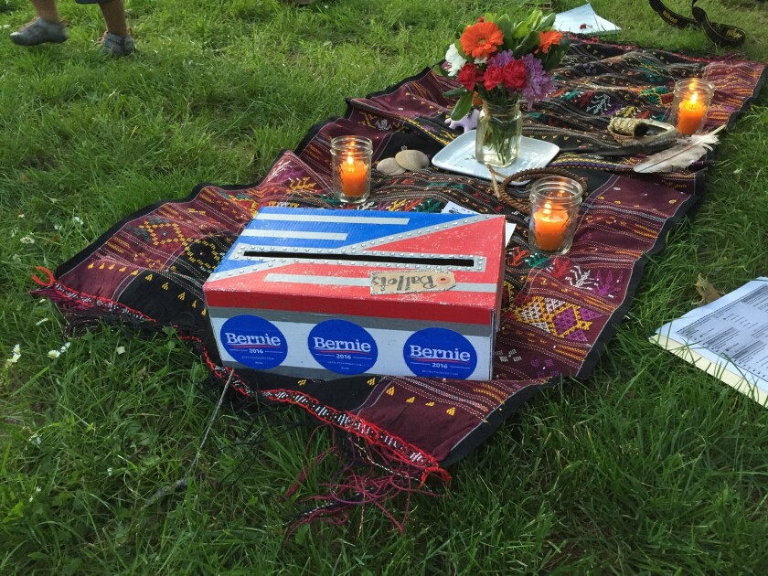 """The """"ballot box"""" at the Wiccan ritual held in Portland in support of Bernie Sanders."""