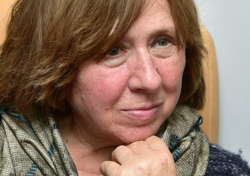 Svetlana Alexievich attends an Oct. 8 news conference in Minsk, Belarus, following the announcement that she had won the Nobel Prize in literature.
