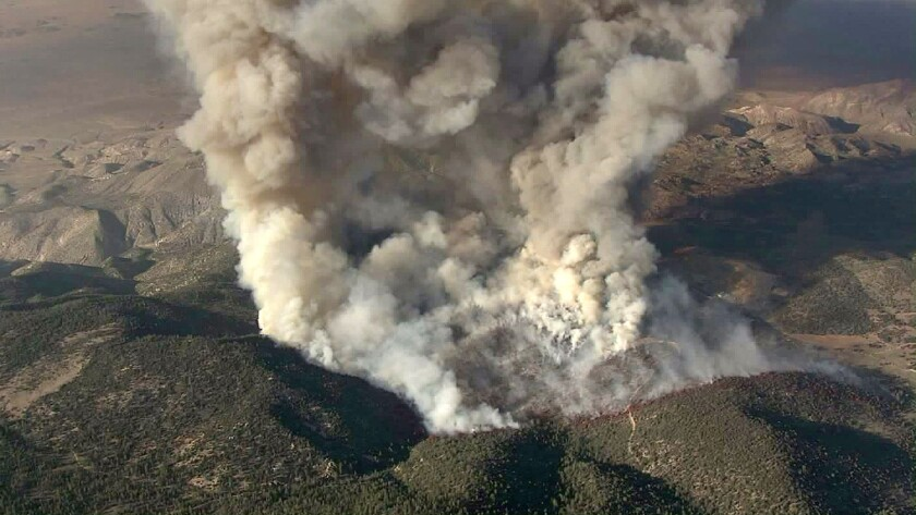 The Holcomb fire burning near Big Bear Lake has grown amid a sweltering heat wave on Tuesday June 20, 2017.