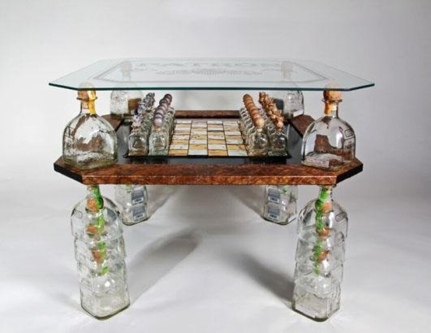 Chess set made of Patron tequila bottles wins $10,000 prize.