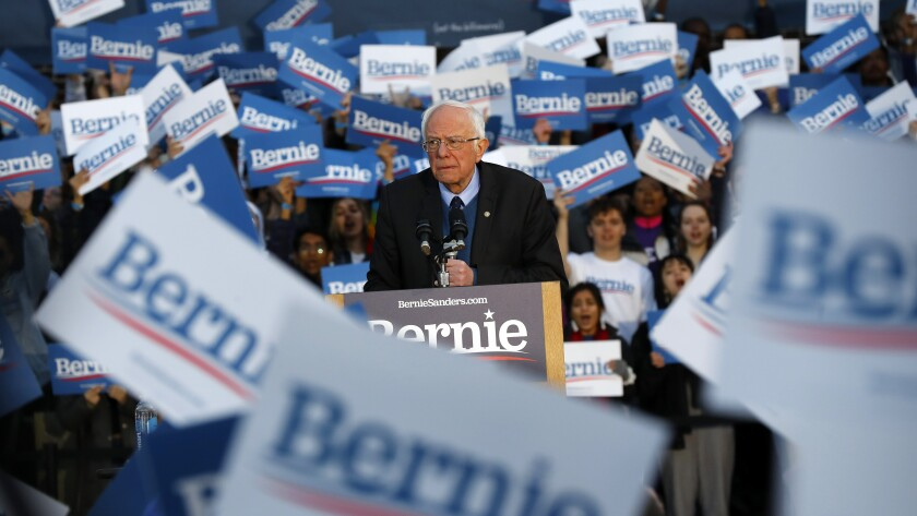 Democratic presidential candidate Sen. Bernie Sanders speaking at a campaign rally at the University of Michigan in Ann Arbor on Sunday. It didn't do him much good in Tuesday's primary.