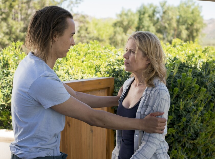 """Nick Clark (Frank Dillane) tries to reassure his mother Madison (Kim Dickens) on the midseason finale of """"Fear the Walking Dead."""""""