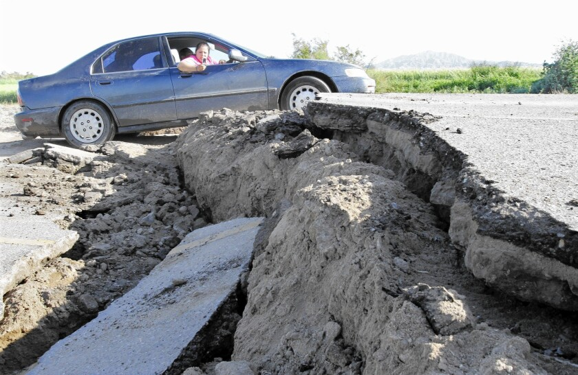 The magnitude 7.2 earthquake in 2010 that was centered near the California-Mexico border was among those that have jumped faults. Above, a road in Mexicali, Mexico, after the quake.