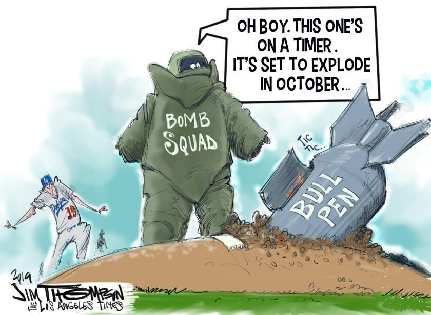 Cartoonist Jim Thompson illustrates the Dodgers' bullpen situation.