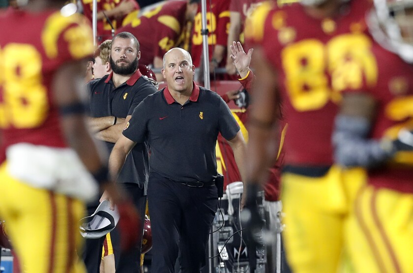 USC coach Clay Helton reacts after a personal foul call against the Trojans during the second quarter Saturday.