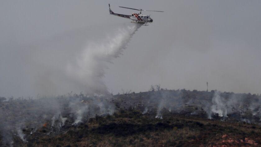 Agua Dulce, CA June 4, 2018: Many aircraft are working the Stone Fire in Aqua Dulce, June, 4, 2018