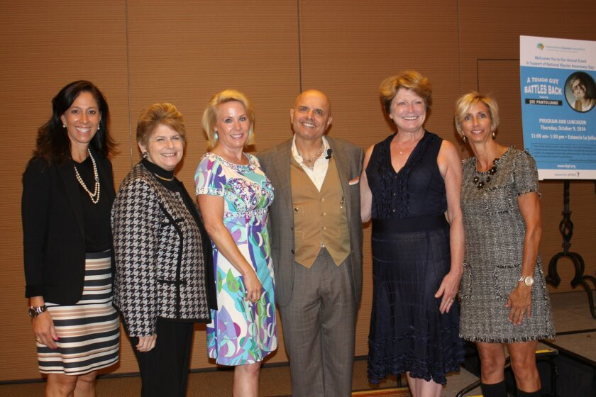 International Bipolar Foundation co-founder Lisa Weinreb, San Diego District Attorney Bonnie Dumanis, International Bipolar Foundation co-founder Muffy Walker, speaker Joey Pantoliano, and International Bipolar Foundation co-founders Lynn Muto and Karen Sheffres.