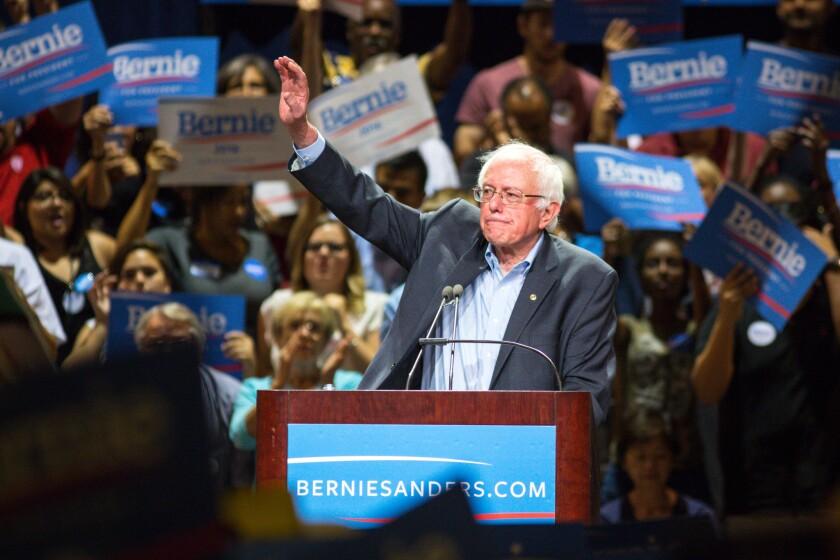 Sen. Bernie Sanders speaks to the crowd at the Phoenix Convention Center.