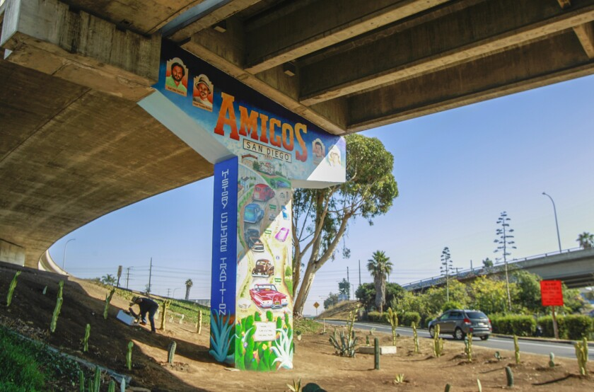 Situated next the Interstate 5 on ramp in Chicano Park, a new mural stands freshly painted by artist Salvador Barajas honoring locals on November 7, 2019 in San Diego, California.