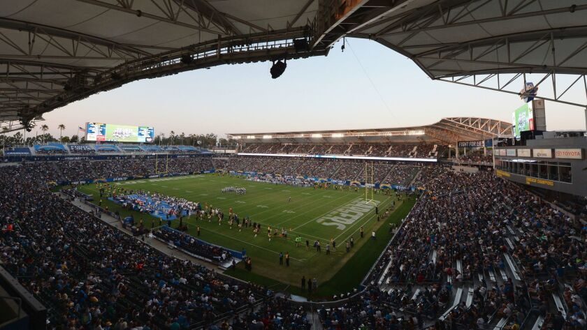 The Chargers make their StubHub Center debut against the Seattle Seahawks on Aug. 13.