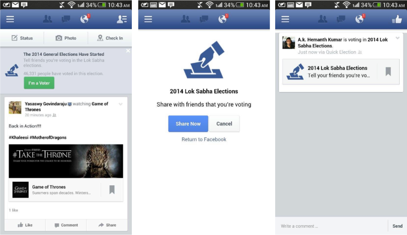 """Facebook expanded its """"I'm a Voter"""" feature to international users for the first time last month during India's general election."""