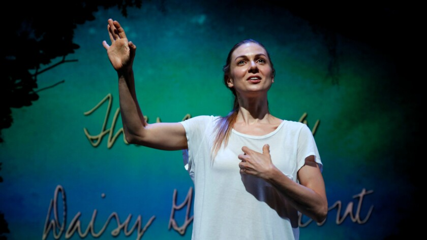 """Lucy Alibar performs """"Throw Me on the Burnpile and Light Me Up"""" at the Kirk Douglas Theatre in Culver City."""