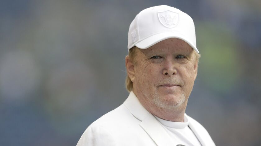 Oakland Raiders owner Mark Davis stands on the field before an NFL football preseason game against t