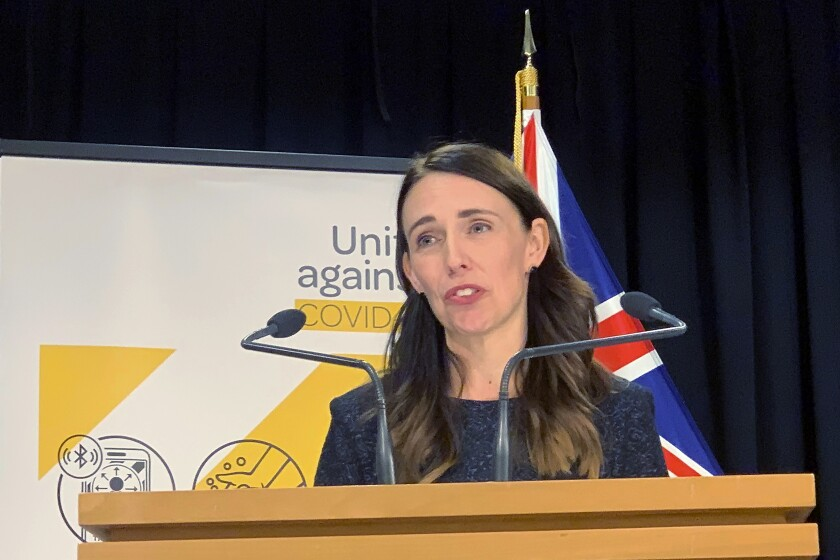 New Zealand's Prime Minister Jacinda Ardern talks to media in Wellington, New Zealand Monday, Feb. 15, 2021. As people in Auckland adjusted to a new lockdown on Monday, health officials said they'd found no evidence the coronavirus had spread further in the community, raising hopes the restrictions might be short-lived. (AP Photo/Nick Perry)