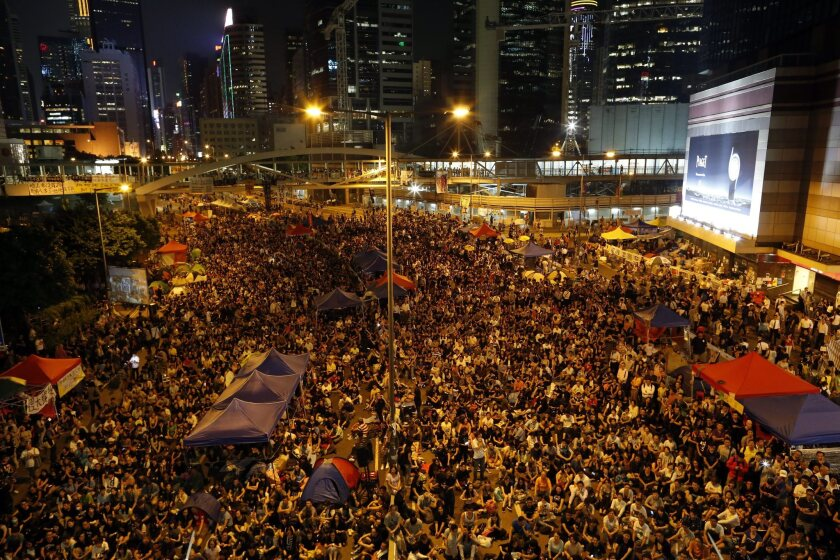 Pro-democracy protesters attend a rally during the mass civil disobedience campaign Occupy Central in Admiralty, Hong Kong, China, on Friday.