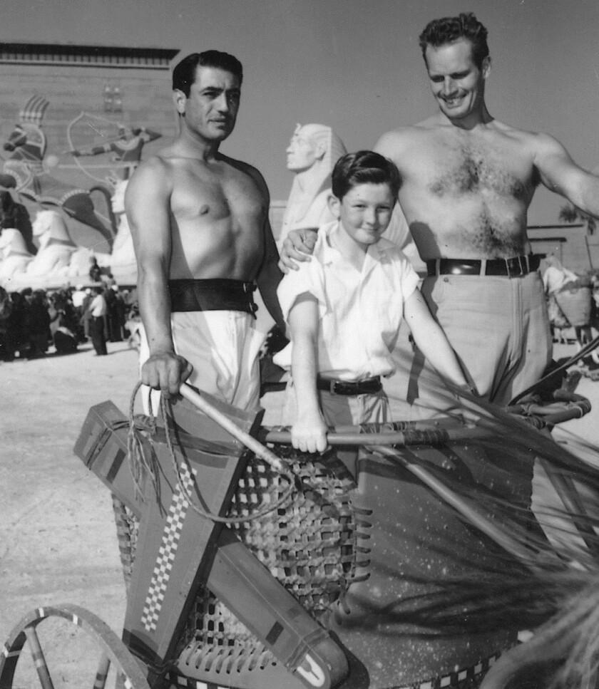 Joe Harper with Charlton Heston on The Ten Commandments set.jpg