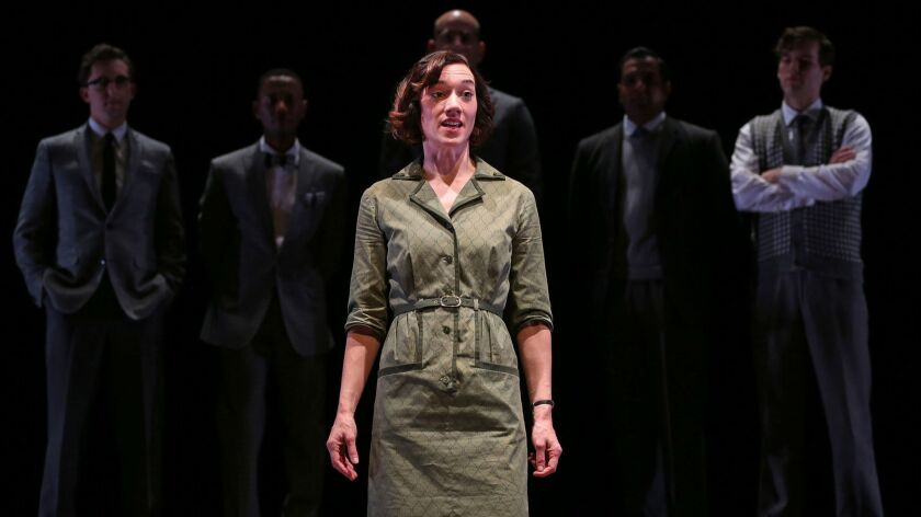 """The spotlight shines, for once, on the unsung genetic pioneer Rosalind Franklin (Helen Sadler), whose work was instrumental in the discovery of DNA, in Anna Ziegler's """"Photograph 51"""" at South Coast Repertory."""