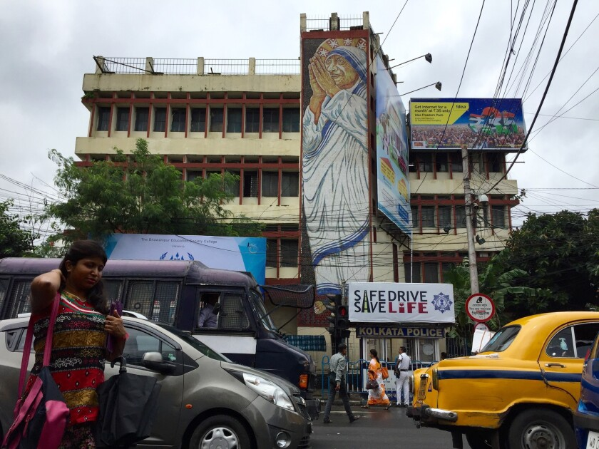 """Mother Teresa is depicted in a mural in Kolkata, where the late Catholic nun tended to the """"poorest of the poor"""" for nearly five decades."""