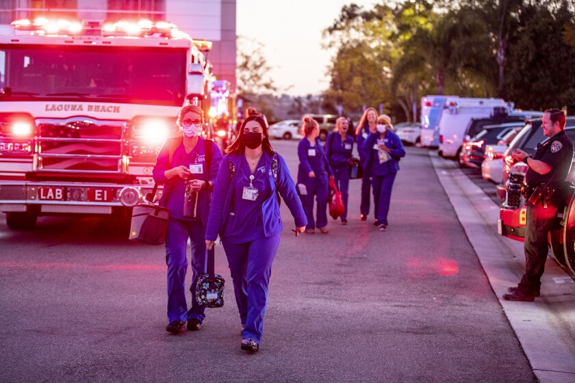 Orange County first responders cheer healthcare workers at Mission Hospital
