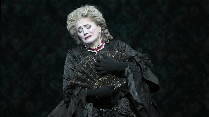 "Patricia Racette as Marie Antoinette in Los Angeles Opera's 2015 production of John Corigliano's ""The Ghosts of Versailles"" at the Dorothy Chandler Pavilion."
