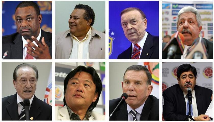 Julio Rocha (2-i), expresidente de la Federación Nicaragüense de Fútbol (Fenifut) y exdirectivo de la FIFA, se declaró hoy culpable ante un tribunal de Nueva York en el caso de corrupción en el máximo organismo del fútbol internacional. EFE/ARCHIVO