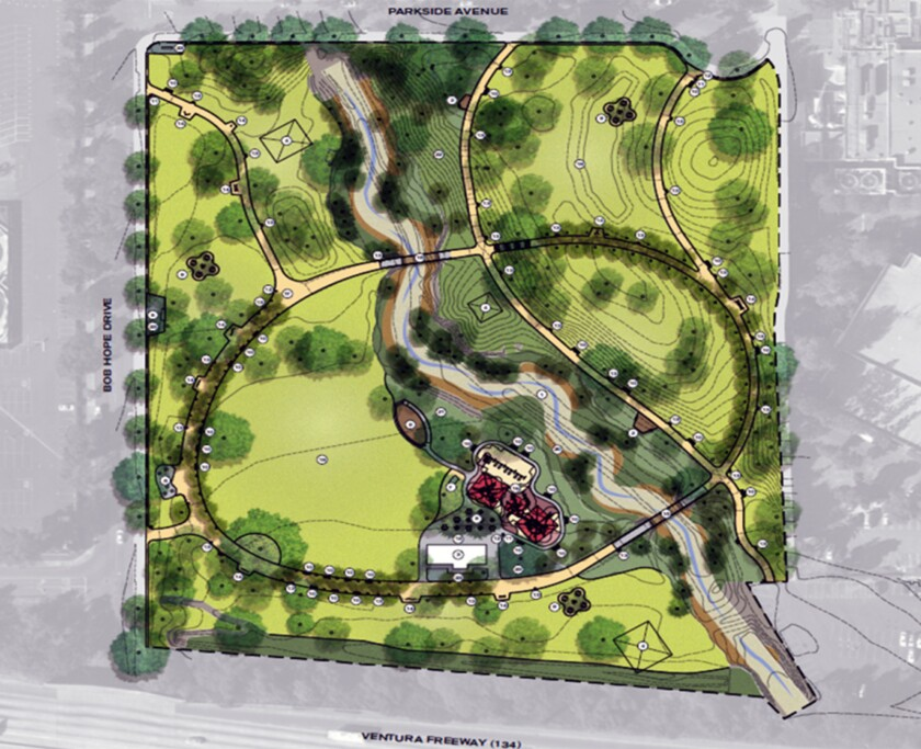 A rendering shows the site plan for the redesign of Johnny Carson Park in Burbank.