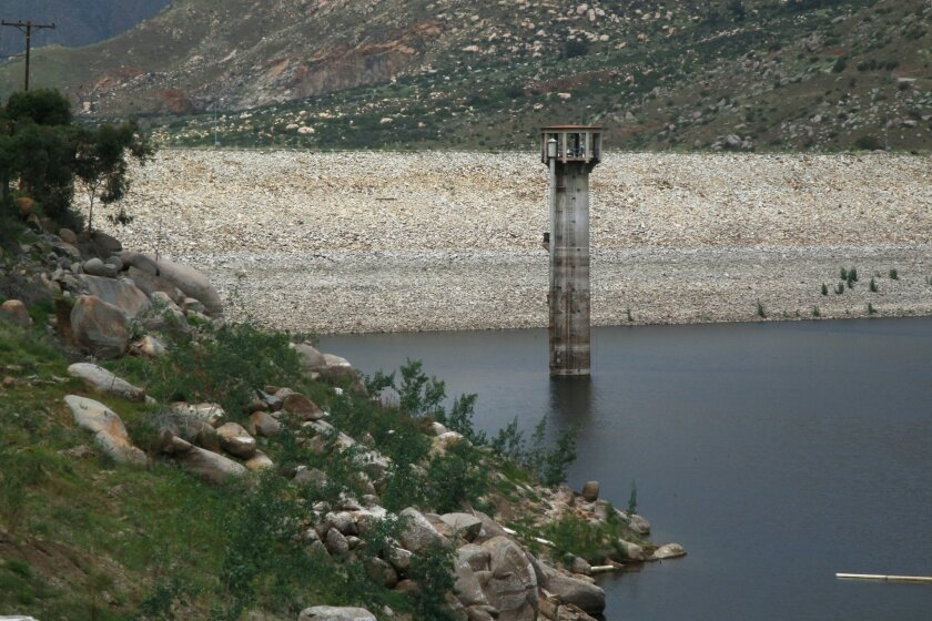 El Capitan Reservoir was at nearly 29 percent of its capacity on March 2. Overall, the county's 25 reservoirs are at 41 percent of capacity as of that same date. / photo by John Gibbins * U-T San Diego