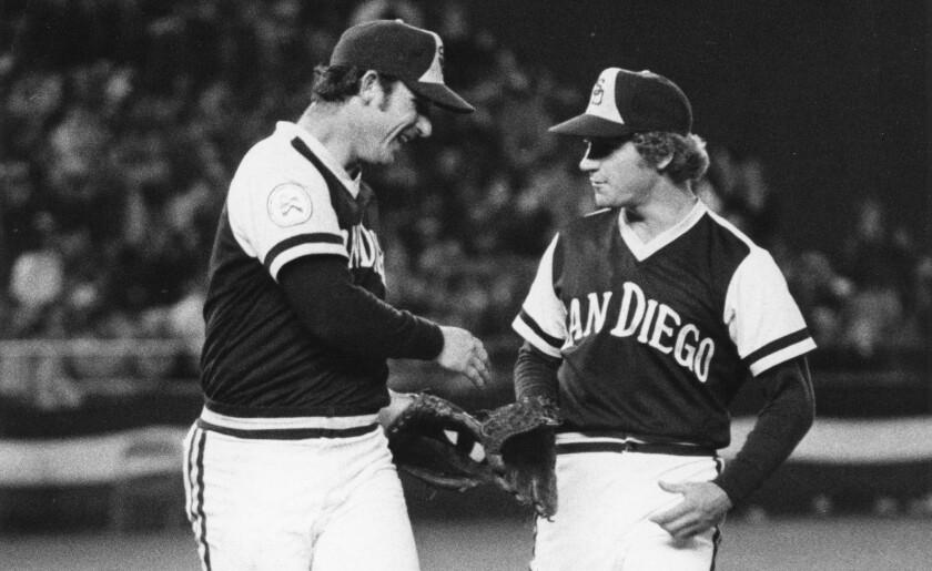 Doug Rader congratulates Randy Jones on a win on April 9, 1976.