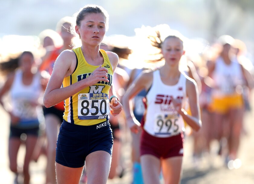 Marina junior Marikay Schwab runs in the girls' Division 2 CIF Southern Section Cross-Country Finals  on Nov. 23, 2019.