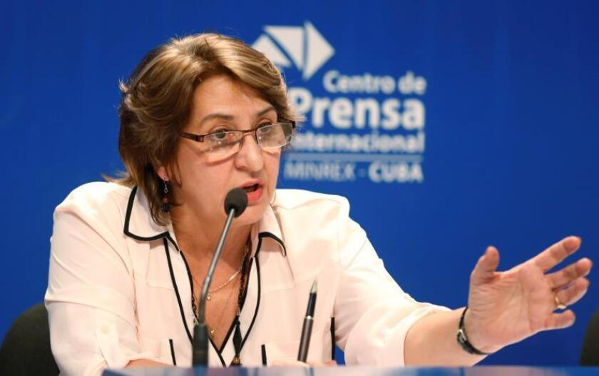 The chair of Cuba's electoral commission, Alina Balseiro, speaks at a press conference in Havana on Monday, Feb. 25. EFE-EPA/Ernesto Mastrascusa