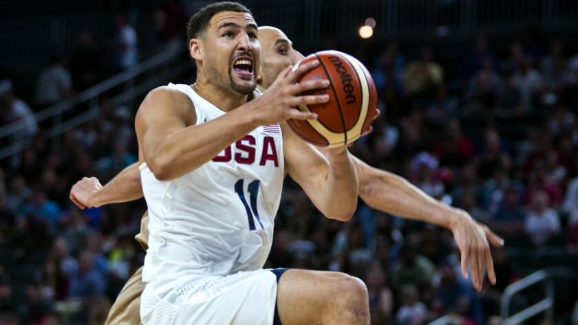 U.S. guard klay Thompson drives to the basket against Argentina during an exhibition game Friday in Las Vegas.