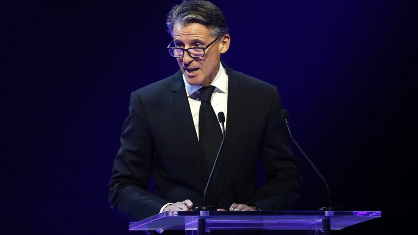 IAAF President Sebastian Coe delivers a speech during an awards ceremony Friday in Monaco.