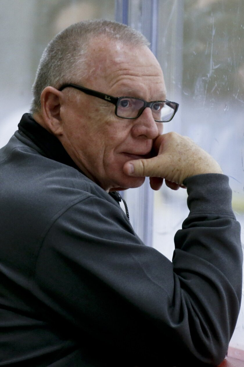 Pittsburgh Penguins general manager Jim Rutherford watches the team during NHL hockey practice at the UPMC Lemieux Sports Complex, Saturday, May 28, 2016, in Cranberry, Pa. The Penguins host the San Jose Sharks in Game 1 of the Stanley Cup Finals on Monday, May 30. Mike Sullivan wasn't Rutherford's