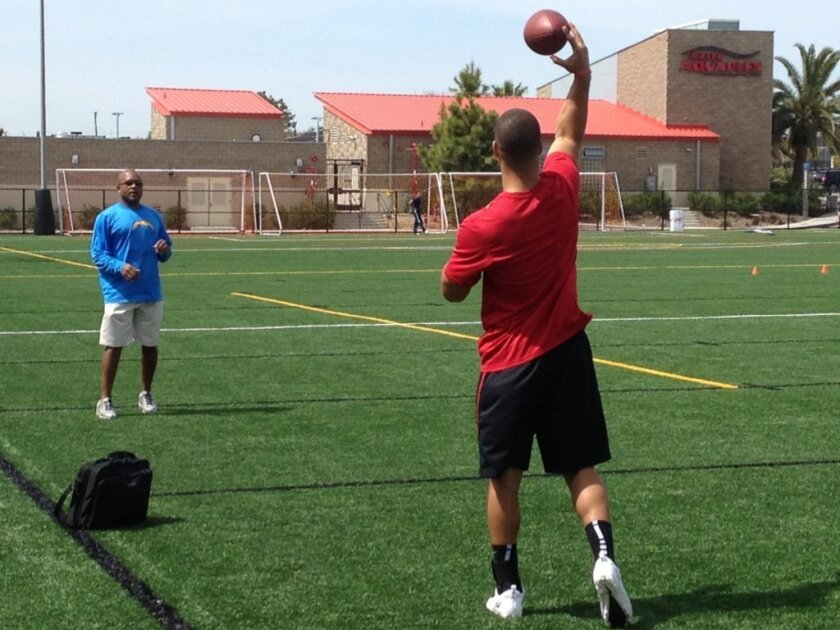 Former Aztec QB Ryan Katz warms up with San Diego Chargers secondary coach Ron Milus at SDSU's Pro Day, Tuesday, March 19, 2013