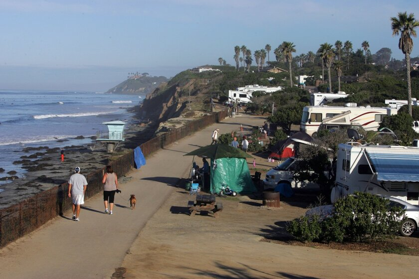 Campers enjoy the San Elijo State campground on a Sunday morning in Encinitas.