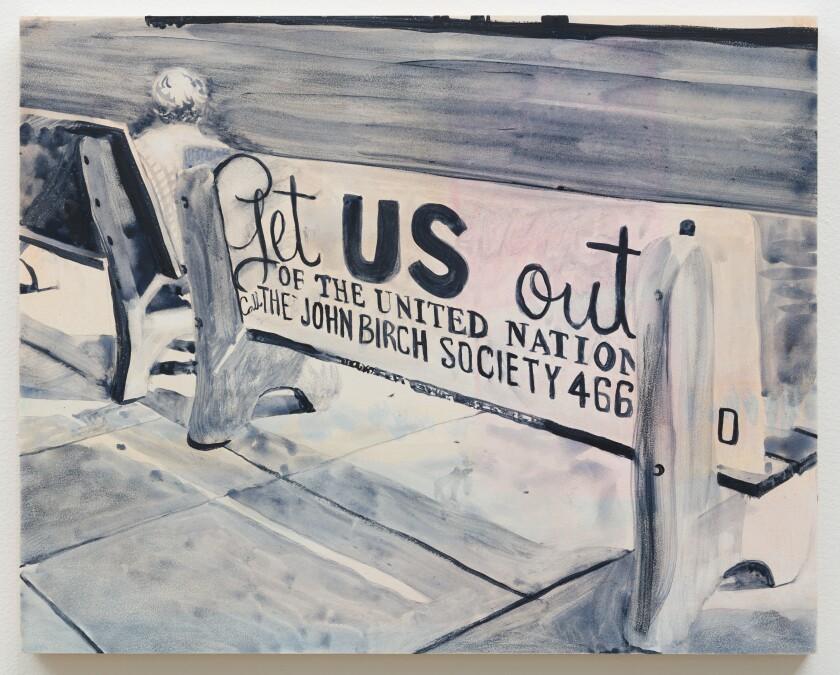 "Katie Herzog, ""John Birch Society Bus Bench,"" 2019, watercolor on board."
