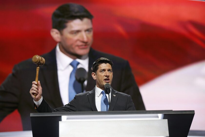 House Speaker Paul D. Ryan offered a more optimistic approach to the November election, a contrast with Donald Trump.