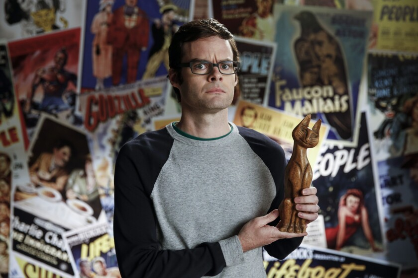 "Funnyman Bill Hader, formerly of ""Saturday Night Live, "" with a prop from the set of Turner Classic Movies' Essentials Jr."