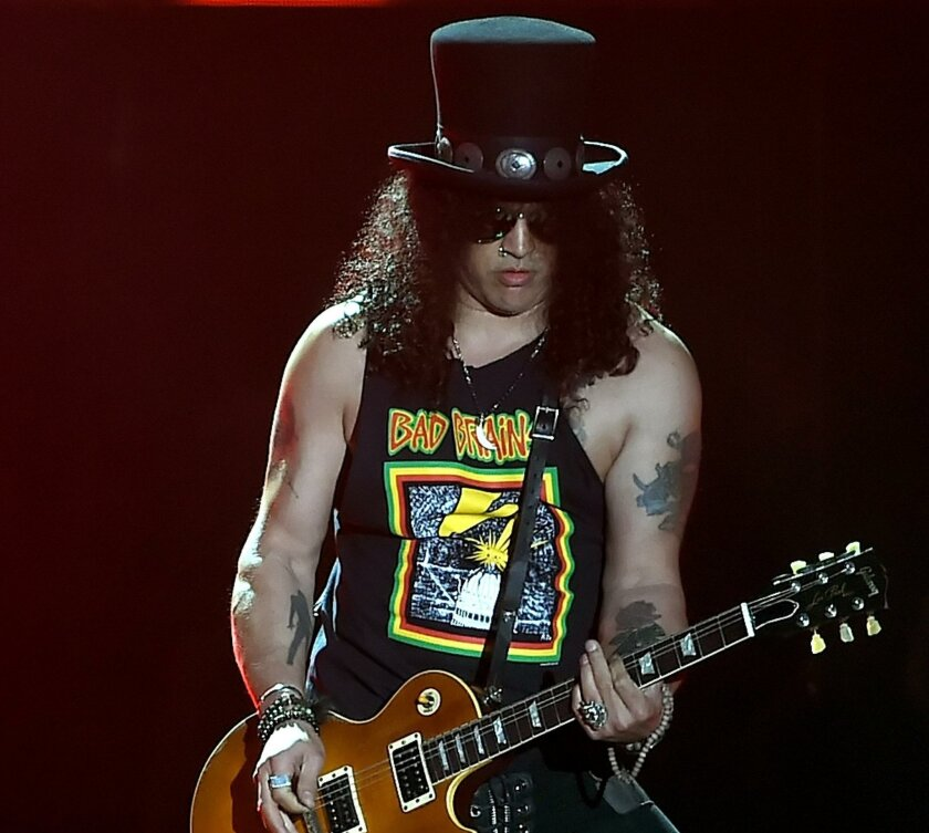 Slash will appear with Guns N' Roses in a concert Aug. 22 at Qualcomm Stadium.