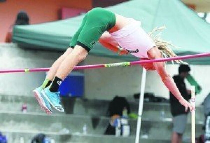 Poway's Charlie Bush owns the school record in the pole vault with a mark of 15-9. Photo by Sherri Cortez